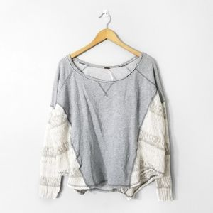 FREE PEOPLE Grey Creme Oversized Knit Sweater